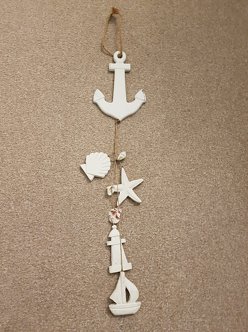 Ceramic Seaside Theme Wall Hanger with Shells