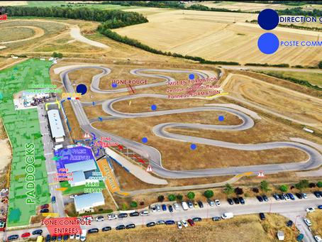 Vidéo, Plan de la piste de Mirecourt en anti-horaire et Drapeaux