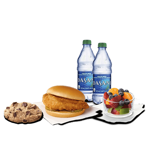 Chik-fil-A Sandwich with Fruit and Cookie
