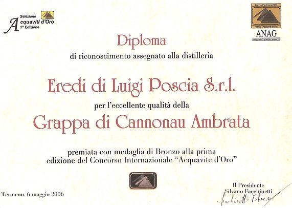 Premio concorso aqcuavite d'oro Grappa di Cannonau Ambrata Eredi Luigi Poscia
