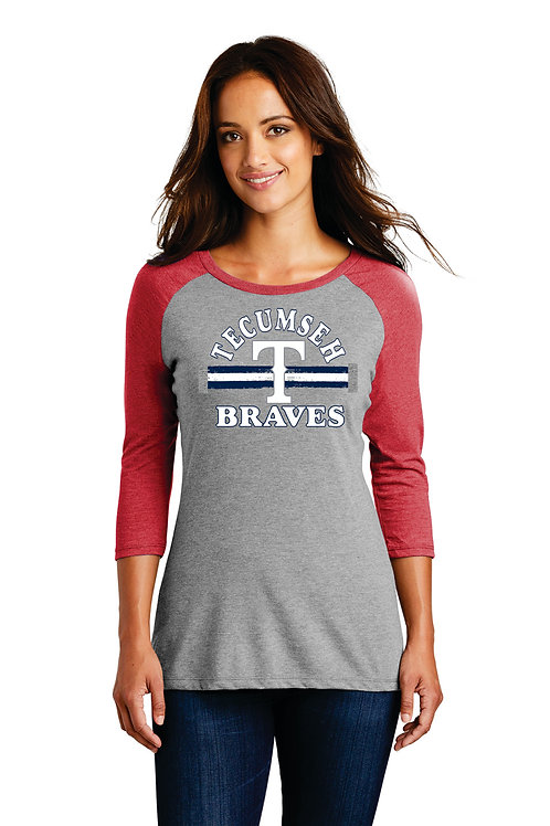 Red sleeve Ladies District baseball Tee