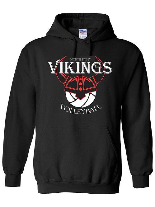 Black Volleyball Cotton Hoodie