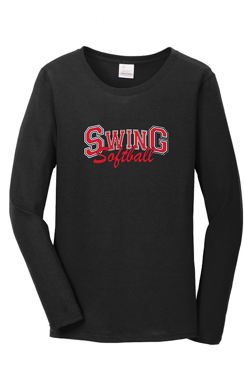 Ladies Black cotton Long sleeve Tee with logo