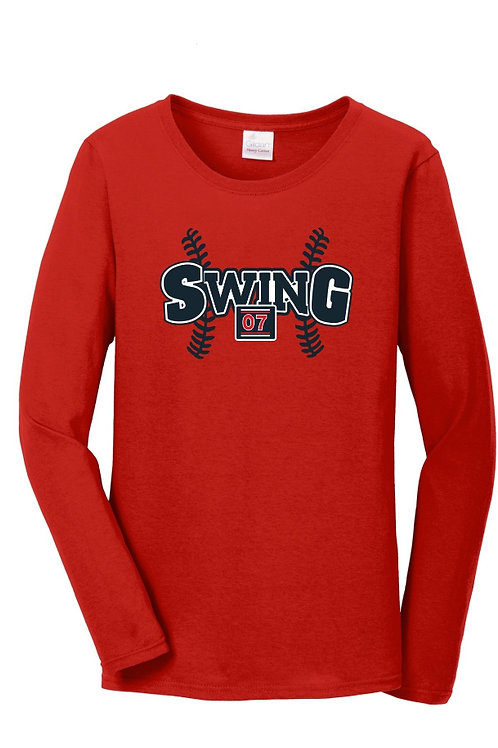 Ladies Red cotton Long sleeve Tee with logo
