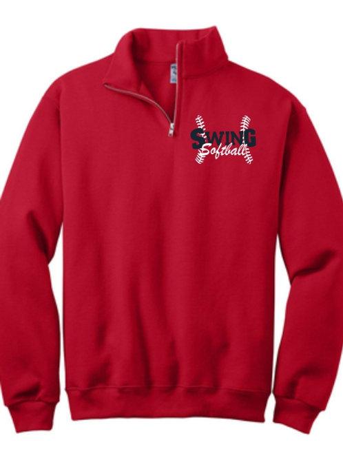 Red Quarter zip Sweatshirt with logo