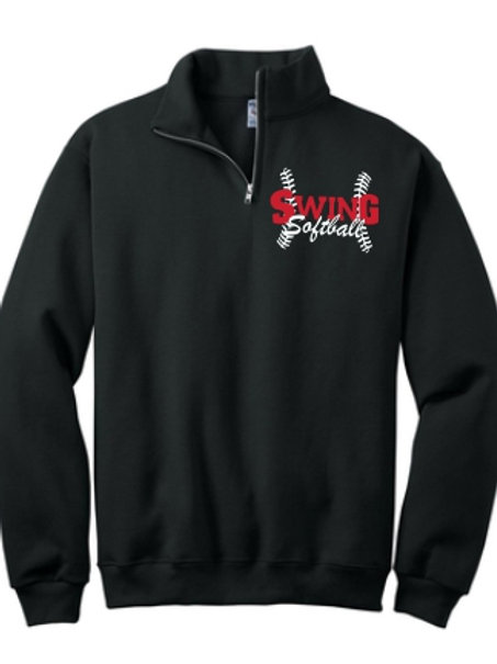 Black Quarter zip Sweatshirt with logo
