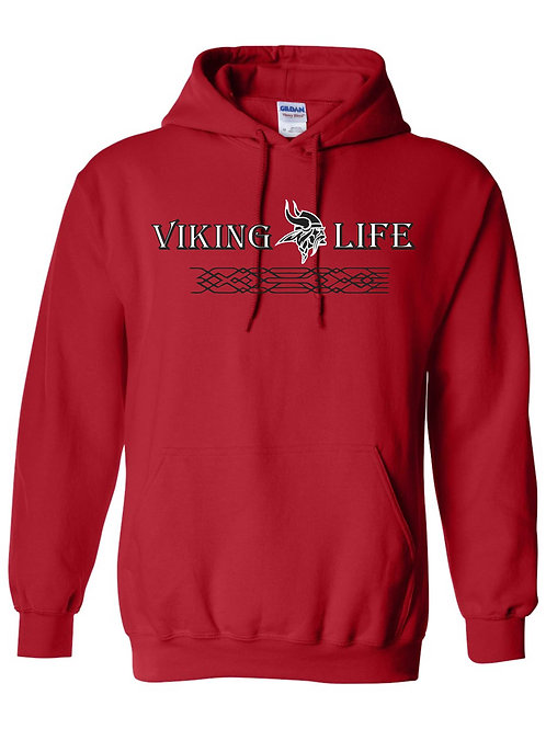 Red NP Viking Life Volleyball Cotton Hoodie