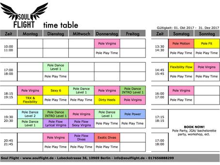 *NEW schedule*NEW classes - ab 01.10.2017 gültig