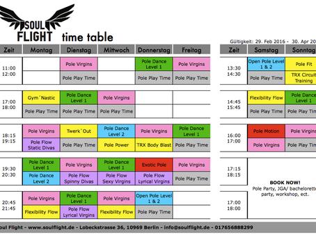 Neuer Stundenplan * New schedule
