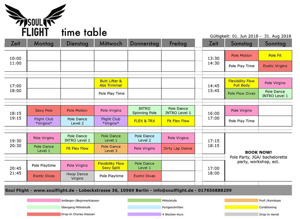 Stundenplan Pole Dance Berlin