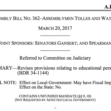 S.E.S.A.M.E. to testify for Nevada AB 362: to stop school districts from 'passing the trash'
