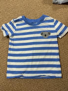 Koala and blue &white striped t-shirt 9-12 months