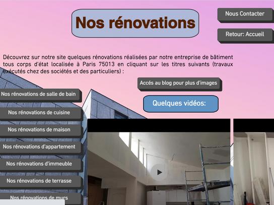Tous savoir sur nos rénovations: photos et vidéo.