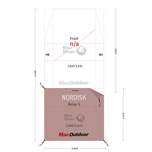 Nordisk レイサ6用 インナー用 グランドシート Mac Foot 難燃性