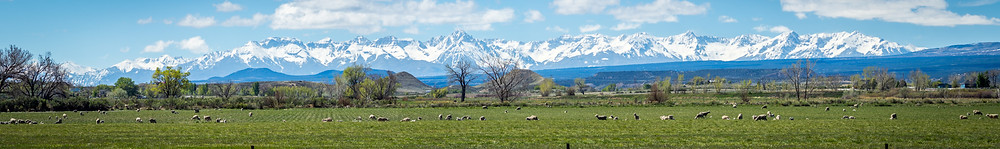 Panorama of the San Juan Mountains from Montrose Colorado