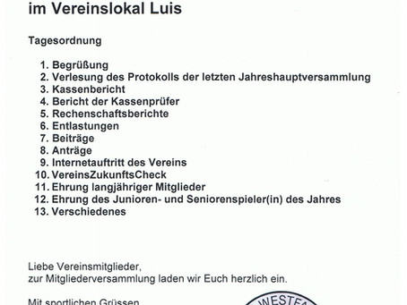 SV Westfalia Scherfede lädt ein zur Jahreshauptversammlung