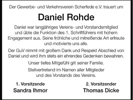 Wir trauern um unser Vorstandsmitglied Daniel Rohde