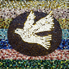 """By Jonathan Murro.  """"The Dove, representing Harmlessness and Peace, is the Niscience symbol.  The Dove in flight represents the ability to rise above physical passions, hates, and prejudices.  The mosaic of """"mirotiles"""" in the central oval portrays the mediative action of dedicated disciples who work to blend with the Lord Jesus. . .the Absolute Mediator between man and God.  The seven horizontal fields around the Dove represent the seven major facets of the spiritual life: 1) Dedication, 2) Devotion, 3) Instruction, 4) Creating, 5) Serving, 6) Healing, 7) Teaching."""""""