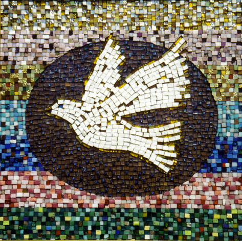 "By Jonathan Murro.  ""The Dove, representing Harmlessness and Peace, is the Niscience symbol.  The Dove in flight represents the ability to rise above physical passions, hates, and prejudices.  The mosaic of ""mirotiles"" in the central oval portrays the mediative action of dedicated disciples who work to blend with the Lord Jesus. . .the Absolute Mediator between man and God.  The seven horizontal fields around the Dove represent the seven major facets of the spiritual life: 1) Dedication, 2) Devotion, 3) Instruction, 4) Creating, 5) Serving, 6) Healing, 7) Teaching."""