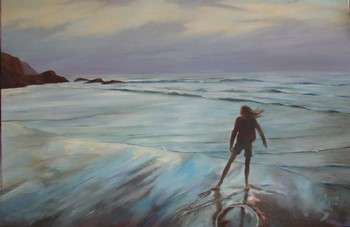 Ebbing Tide Reflections, Oil on Canvas, 1000mm x 700mm
