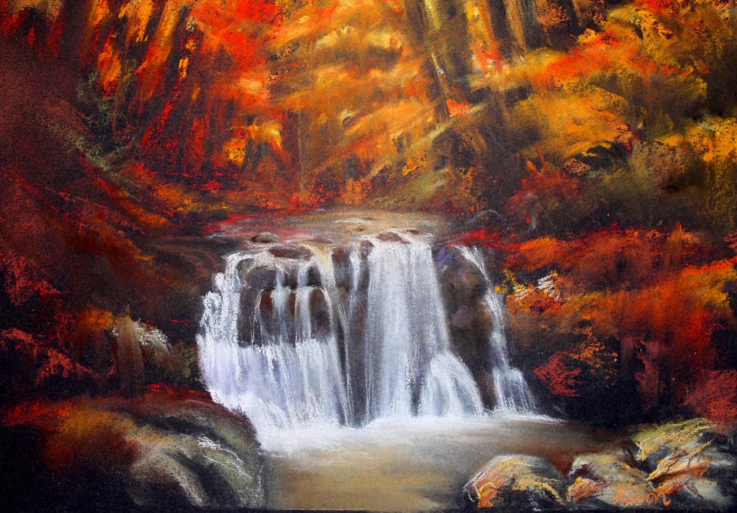 Autumn Waterfall, Pastel Study