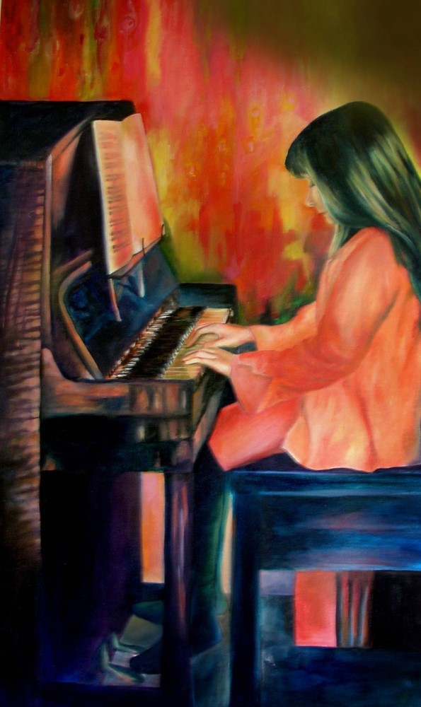 Red Piano, Oil on Canvas, 1100mmx605mm