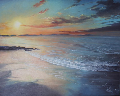 Hopeman Sunset 400 x 500mm oil on linen