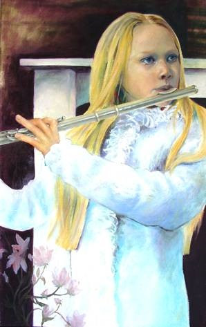 Winter Air on Flute, Oil on Canvas, 1015mmx665mm