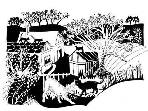 Cats on the roof print