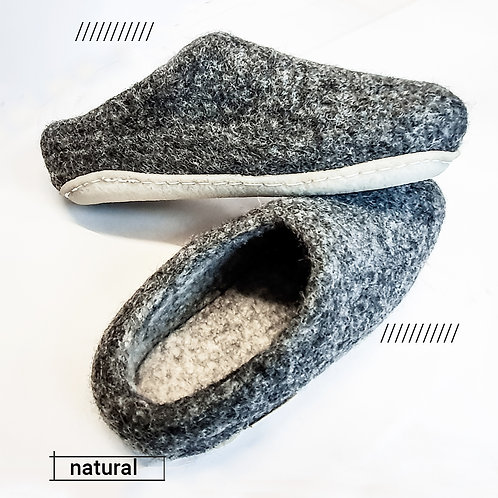DARK GREY FELT SLIPPERS for Emily (UK 10)