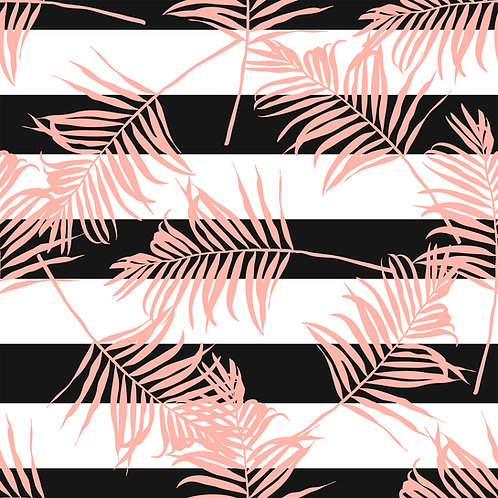 "Papel Tapiz ""B&W pink leaves"""