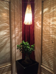 Hanging light that created from Ikea table mats