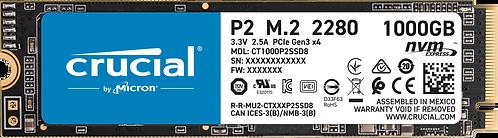 DISCO SOLIDO 1 TB CRUCIAL P2 M.2 2280SS SSD