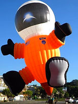 The Big Black Bird features the NASA Space-Man Special Shape Hot Air Balloon