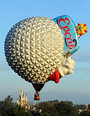 The Big Black Bird features Disney's Epcot Special Shape Hot Air Balloon
