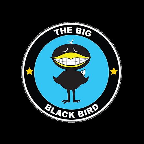 1 ½ inch round Embroidered Black Bird Patch