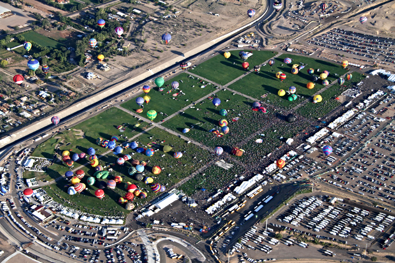 Aerial View over Balloon Fiesta Park