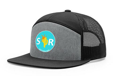 SR Logoed Hat - 7 Panel Black/Grey/Blue Cir