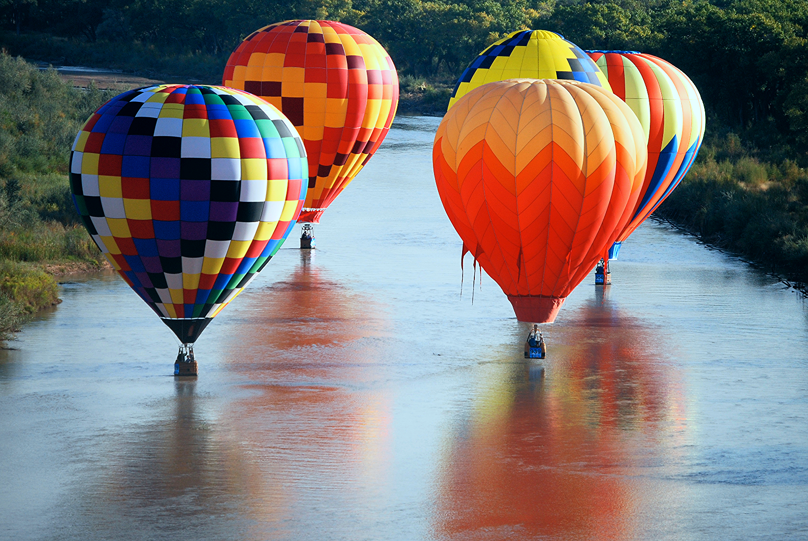 balloons in river Balloon Fiesta