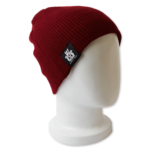 BEANIE HAT REVERSIBLE - BORDEAUX / WHITE
