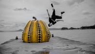 Freerunner doing a wall flip in Naoshima Arty Island, Japan
