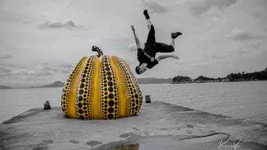 Freerunner doing a wall flip in Naoshima Arty Island, Japan