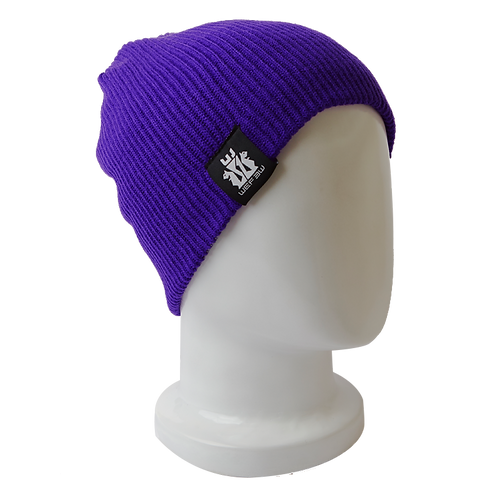 BEANIE HAT REVERSIBLE - PURPLE / GREY