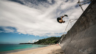 Freerunner performing a huge front flip in Okinawa, Japan