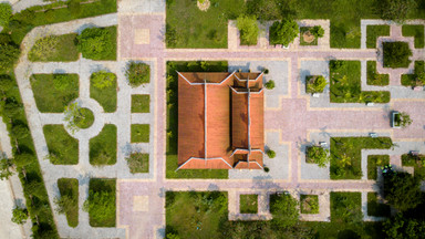 Aerial Shot of Vietnamese temple in Hanoi