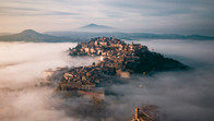 Aerial shot of Montepulciano, Italy