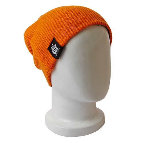 BEANIE HAT REVERSIBLE - BLACK / ORANGE