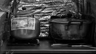 Pots in traditional Japanese inn, Shinjuku, Tokyo, Japan