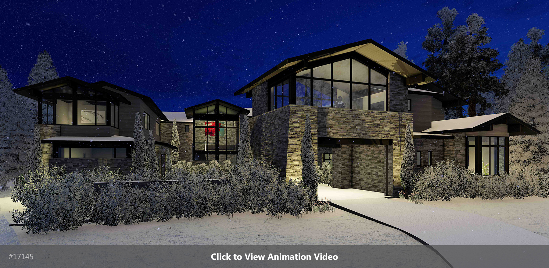 Winter Lodge Night Rendering