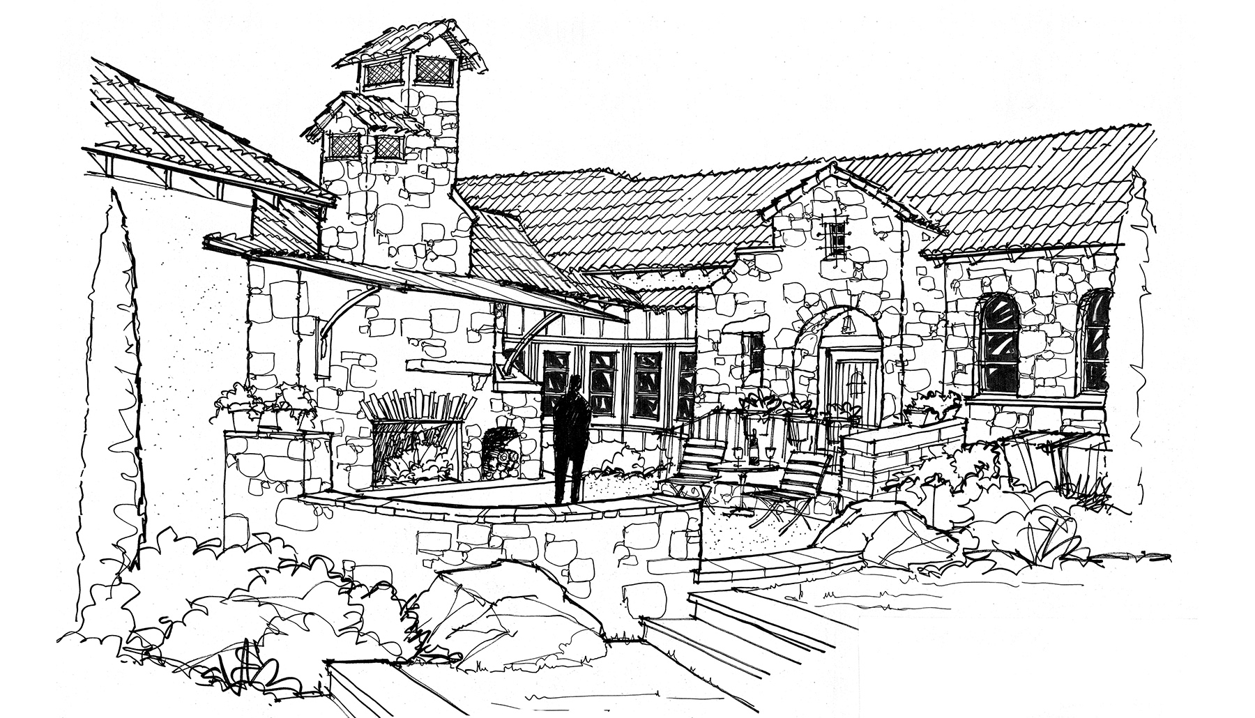 Wine Courtyard Sketch